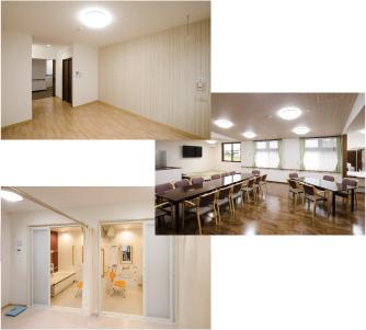 花心のサービス付き高齢者向け住宅は明るくきれいなプライベートルーム、みんなで楽しく団らんや食事をするスペース、バリアフリーのお風呂があります。